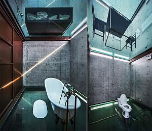 26 نمونه کاربرد بتن خام در حمام و دستشویی