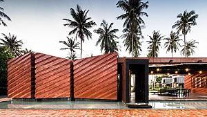طراحی خلاقانه نمای خانه somjai  با آجر و بتن