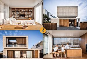 طراحی خانه بتنی و چوبی در کنار امواج ساحلی