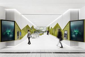 طراحی داخلی متفاوت بانک  با دیوارهای پویا و عملکردی