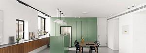 طراحی داخلی آپارتمان bz با رنگ سبز زیتونی