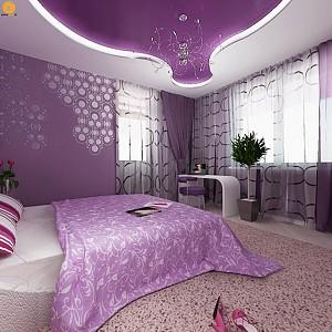 طراحی داخلی آپارتمان با استفاده از رنگ بنفش
