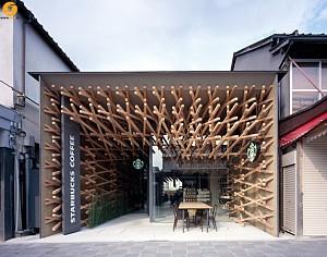 طراحی کافه استارباکس با ادغام معماری ژاپنی