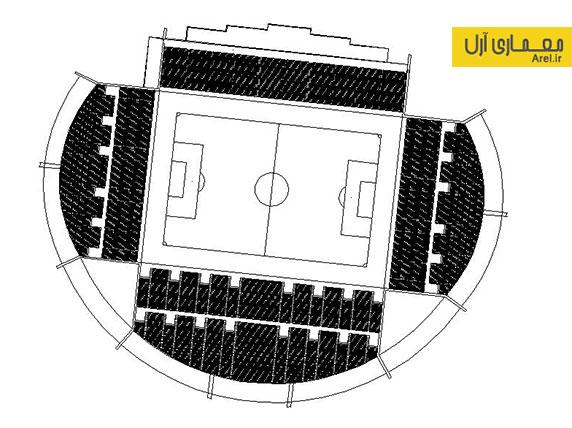 دانلود پلان و دیتیل اجرایی استادیوم فوتبال