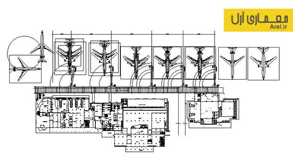 دانلود پلان فرودگاه به همراه آبجکت سه بعدی DWG  هواپیما