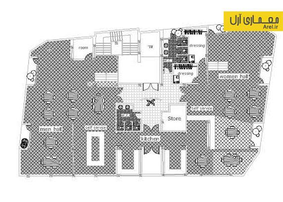 دانلود پلان و نقشه های سازه ی اجرایی فلزی تالار فرهنگی