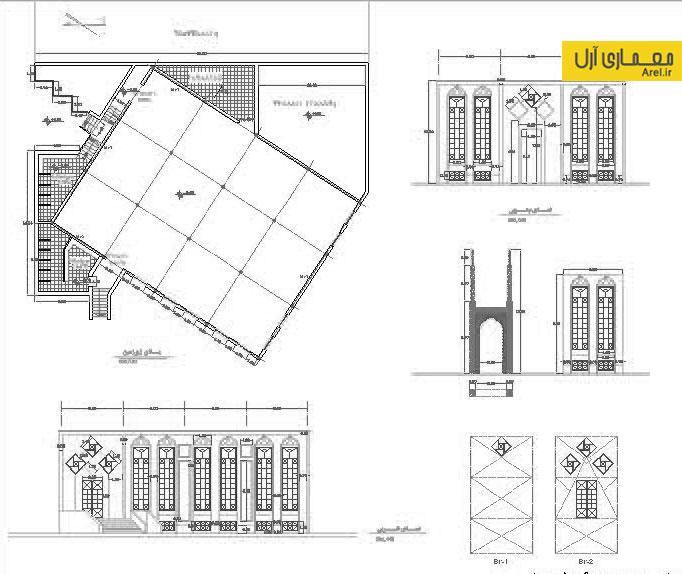 دانلود پلان و نقشه معماری مسجد شهرک فرهنگیان رزن