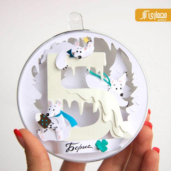 هنرهای زیبا: طراحی کارت تبریک های کریسمس خلاقانه با کاغذ