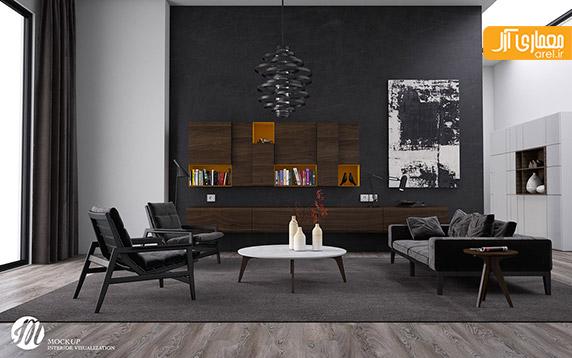 استفاده از رنگ سیاه در طراحی داخلی اتاق نشیمن