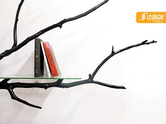 طراحی قفسه کتاب به شکل شاخ و برگ درخت