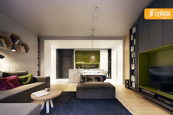 طراحی داخلی آپارتمان،رنگ سبز در دکوراسیون منزل