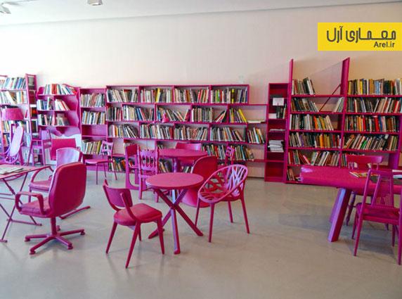 طراحی داخلی کتابخانه عمومی با استفاده از مبلمان های قدیمی