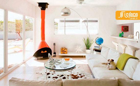 استفاده از رنگ نارنجی پر انرژی در طراحی داخلی نشیمن منزل
