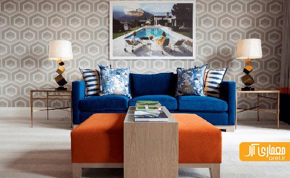 15 ترفند استفاده از رنگ نارنجی پر انرژی در طراحی داخلی نشیمن منزل
