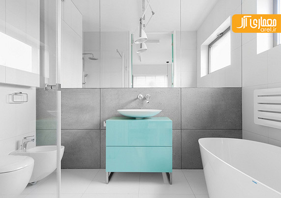 طراحی داخلی با رنگ های آبی، سفید و خاکستری