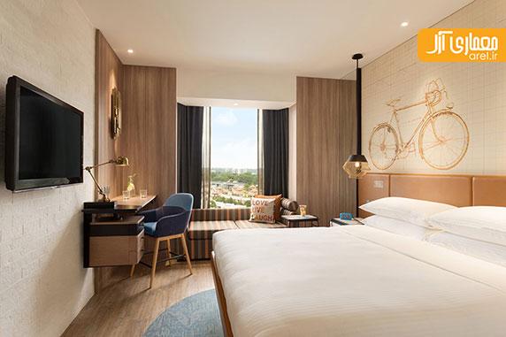 تصاویری از طراحی داخلی بخش های مختلف هتل Jen در سنگاپور