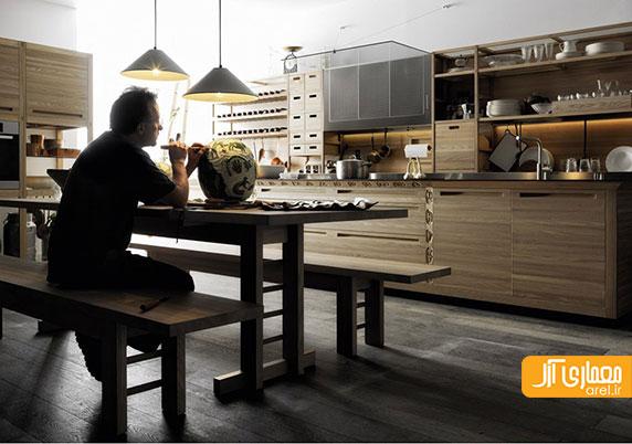 طراحی کابینت آشپزخانه ی چوبی با هنر دست و حکاکی