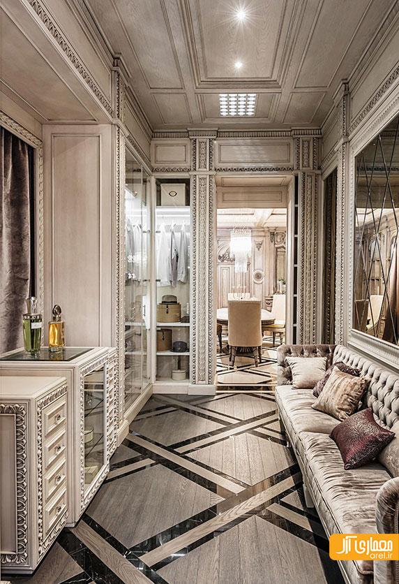 طراحی داخلی 2 آپارتمان لوکس و لاکچری به سبک نئو کلاسیک آرل