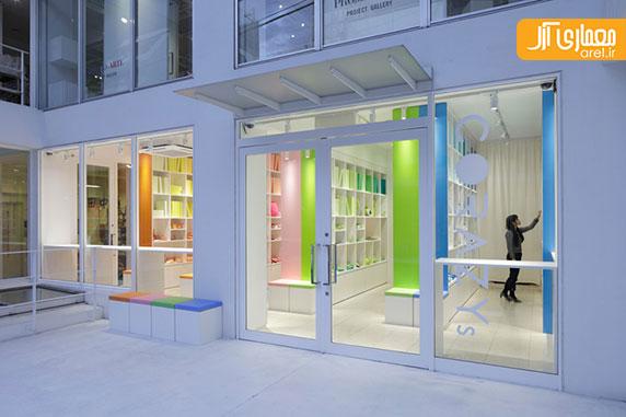 کتابخانه ای از قفسه های رنگی در طراحی داخلی فروشگاه خانه و آشپزخانه توکیو
