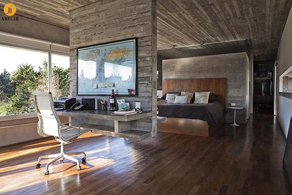 طراحی داخلی،دکوراسیون داخلی مدرن،دکوراسیون داخلی،دیوار جداکننده،دیوایدر،سقف بتنی