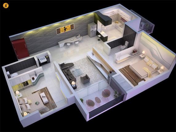 طراحی داخلی آپارتمان : 49 پلان چیدمان سه بعدی آپارتمان 2 خوابه
