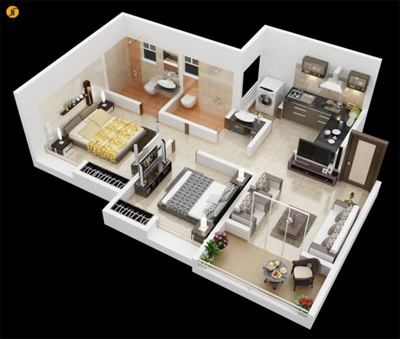 طراحی داخلی آپارتمان : 49 پلان آپارتمان 2 خوابه