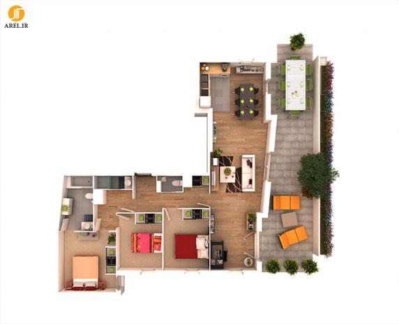 طراحی داخلی آپارتمان : 50 پلان چیدمان سه بعدی آپارتمان 3 خوابه