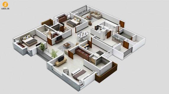 طراحی داخلی آپارتمان : 50 پلان آپارتمان 3 خوابه
