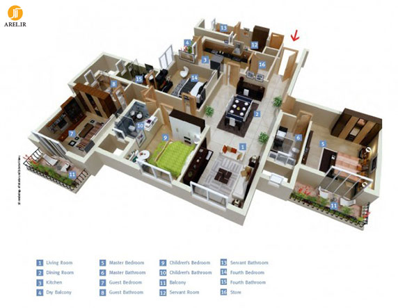 طراحی داخلی آپارتمان : 50 نمونه پلان آپارتمان 4 خوابه