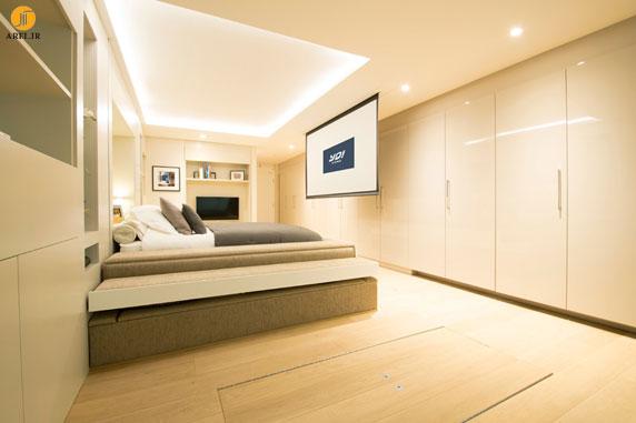 دکوراسیون داخلی منزل کوچک با تخت خوابی پنهان در سقف