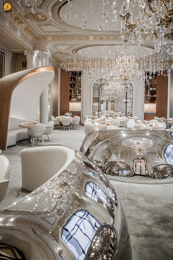 طراحی داخلی رستوران لوکس با استیل