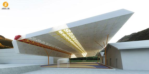 طراحی و معماری سازه ای سقف زمین بازی