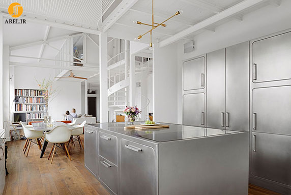 طراحی داخلی آشپزخانه از جنس استیل