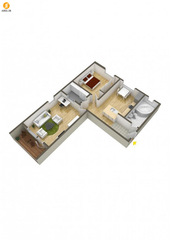 40 for 1 bedroom hall kitchen plan