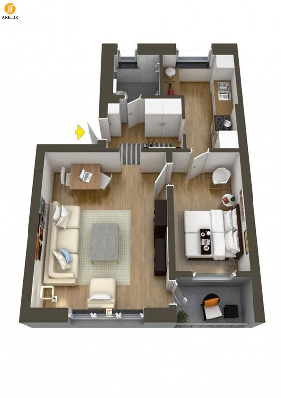 40 نمونه پلان طراحی داخلی آپارتمان تک خوابه : بخش دوم