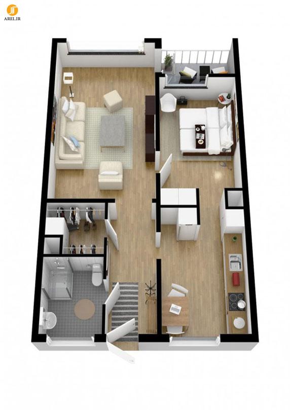 40 نمونه پلان طراحی داخلی آپارتمان تک خوابه بخش دوم آرل