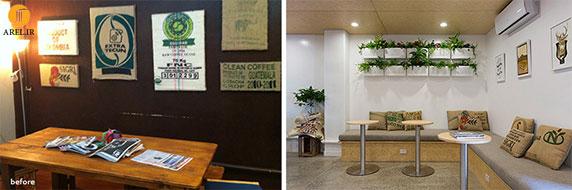 قبل و بعد یک پروژه بازسازی و طراحی داخلی کافی شاپ