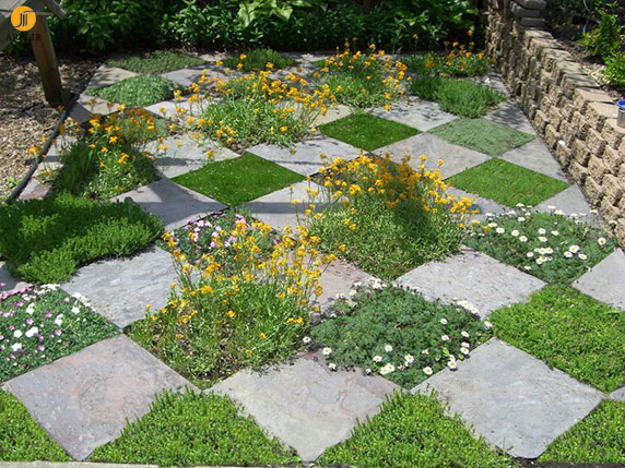 چند الگوی رایج  چیدمان سنگفرش مناسب برای  طراحی باغ و حیاط