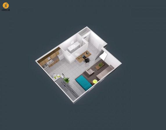 50 پلان چیدمان سه بعدی و دکوراسیون داخلی سوئیت کوچک