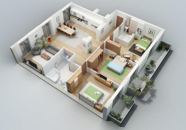 طراحی داخلی آپارتمان: ارائه سه بعدی پلان هر واحد
