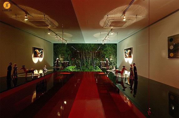 طراحی  نما گالری با آینه