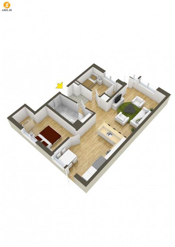 بخش دوم : 40 نمونه پلان طراحی داخلی آپارتمان دو خوابه