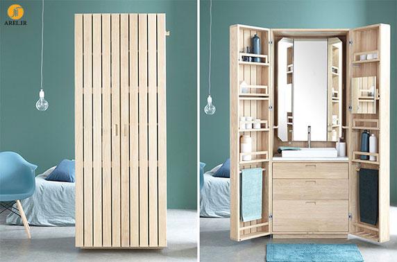 طراحی سینک و روشویی سرویس بهداشتی درون یک جعبه ی چوبی