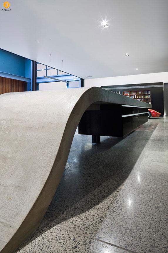 طراحی جزئی : سطح کانتر بتنی که به زمین وصل می شود
