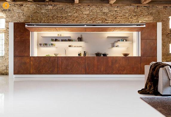 طراحی دیواری متحرک برای پوشاندن دکوراسیون آشپزخانه
