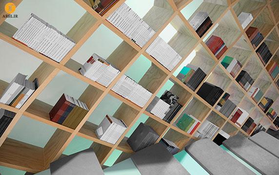 طراحی داخلی کتابخانه با گنبدی از قفسه ها
