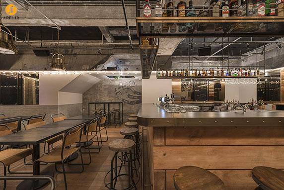 دکوراسیون داخلی رستوران در شانگهای به سبک صنعتی