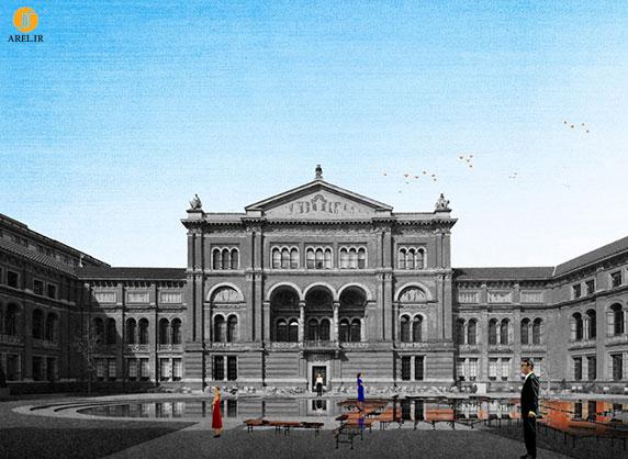 طراحی نیمکت در مقابل موزه ی ویکتوریا و آلبرت