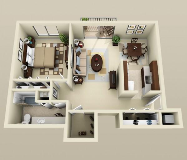 معرفی 50 پلان چیدمان سه بعدی برای آپارتمان های تک خوابه