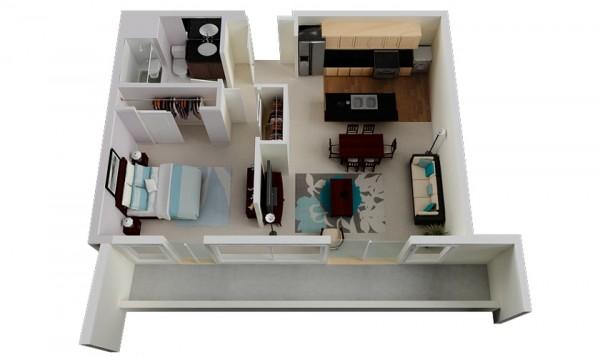 معرفی 50 پلان برای آپارتمان های تک خوابه